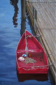 Red Boat at Perkins Cove 24 x 36 Acrylic on canvas